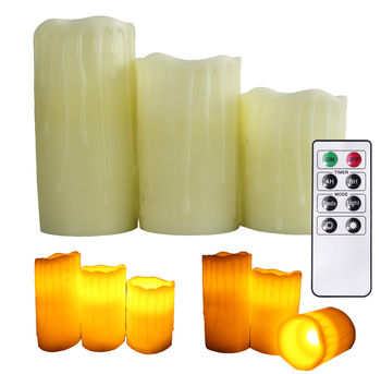 Flameless Candles Real Wax Dripping LED Powered With Remote