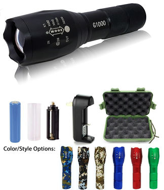 2 - G1000 Portable Zoomable Tactical LED Flashlight - 2000 Lumens