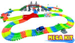 MEGA Twisting Glow In the Dark Light Up Race Car Tracks -  MEGA Set