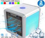2  - New Pro Polar Personal Space Evaporative Air Conditioner Cooler,  Purifier, Humidifier & Fan (4-1) - For Bedroom, Desktop & Office - Movable Vents