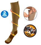 Copper Infused Zipper Compression Closed Toe Socks - Zip Up Circulation Pressure Stockings - 2 Pairs