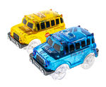 2 Magic Twister Flexible Glow In the Dark Race Car Track Vehicles - UK English School Bus & Police Truck